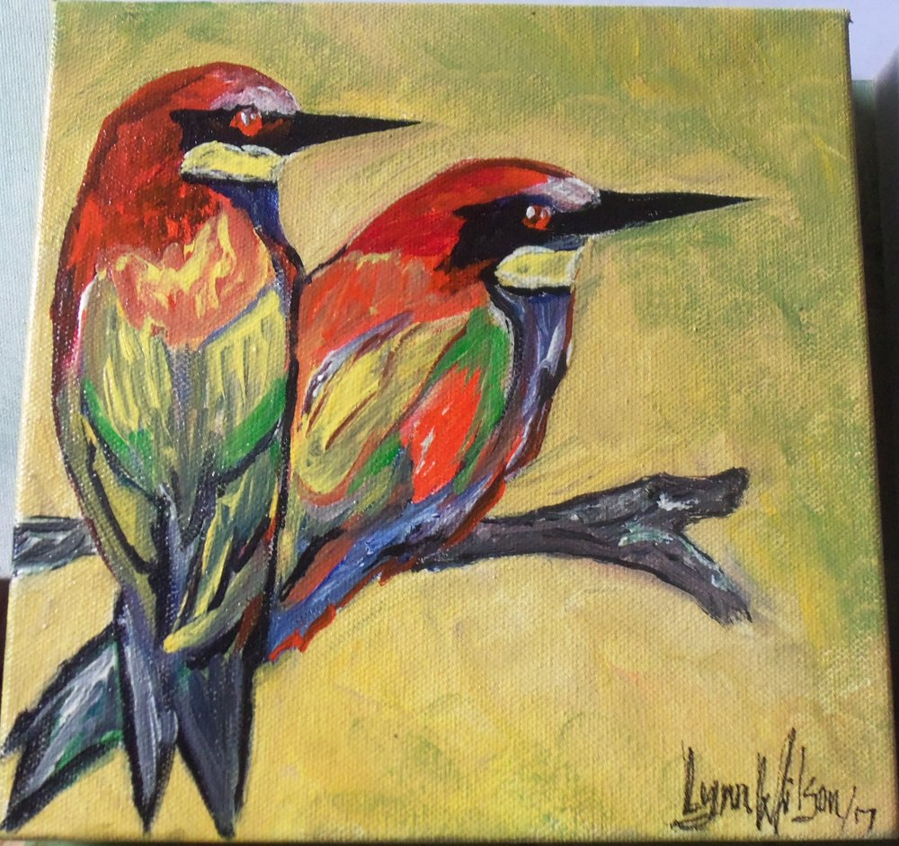 lynn wilson - Two birds on a branch bright orange black green yellow Judy bought 2017.JPG