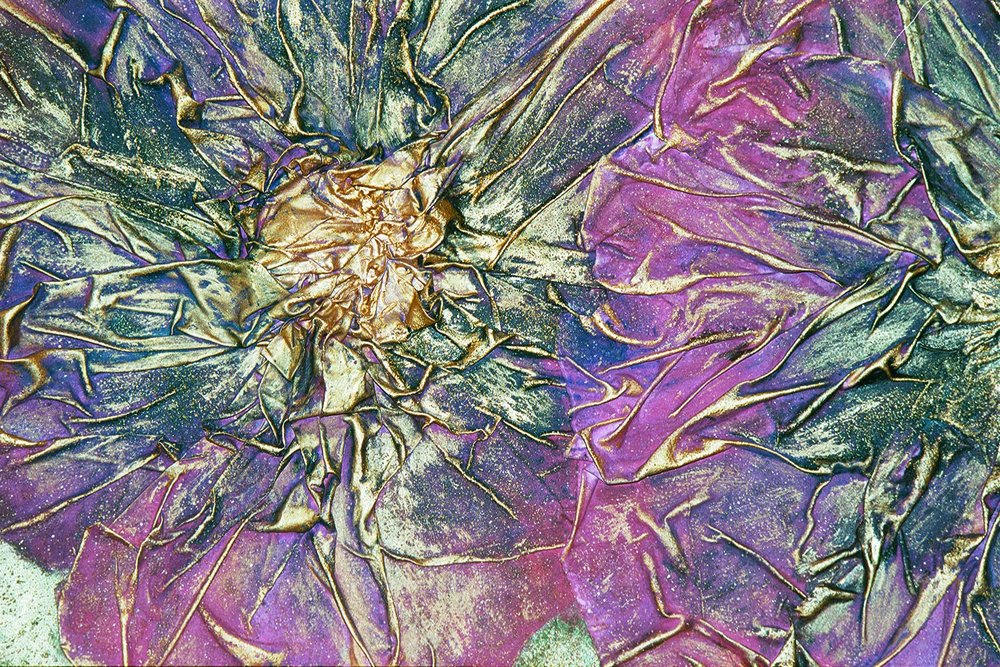 lynn wilson - Mixed Media Purple Teal Flowers close up.JPG