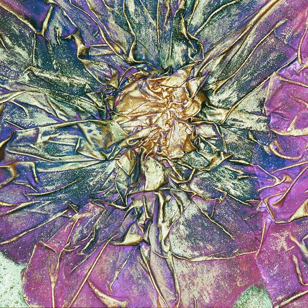 lynn wilson - Mixed Media Purple Teal Flowers close up (1).JPG