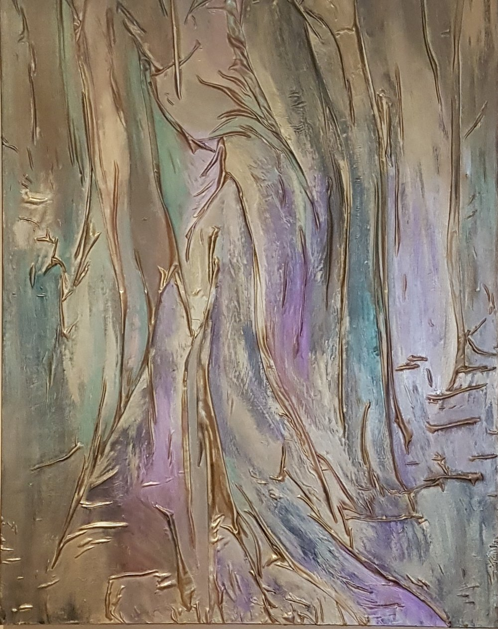 lynn wilson - Silk Cloaked Lady Purple Emereld Gold .jpg