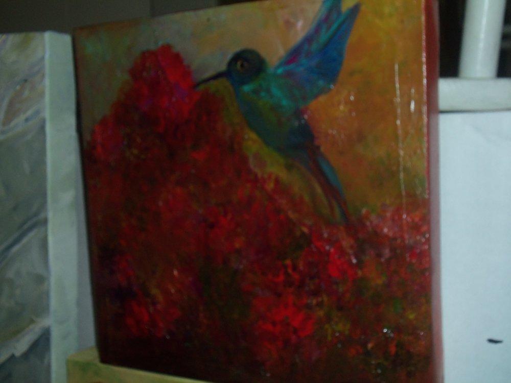 Hummingbird Mixed Media 16x16.JPG