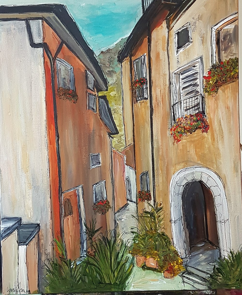 Italian Alley Painting Acrylic and India Ink Feb 3 2018 .jpg