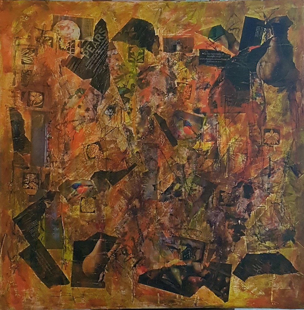 Putting The Pieces Back Together     Canvas collage acrylic and graphite  36 x 36   .jpg