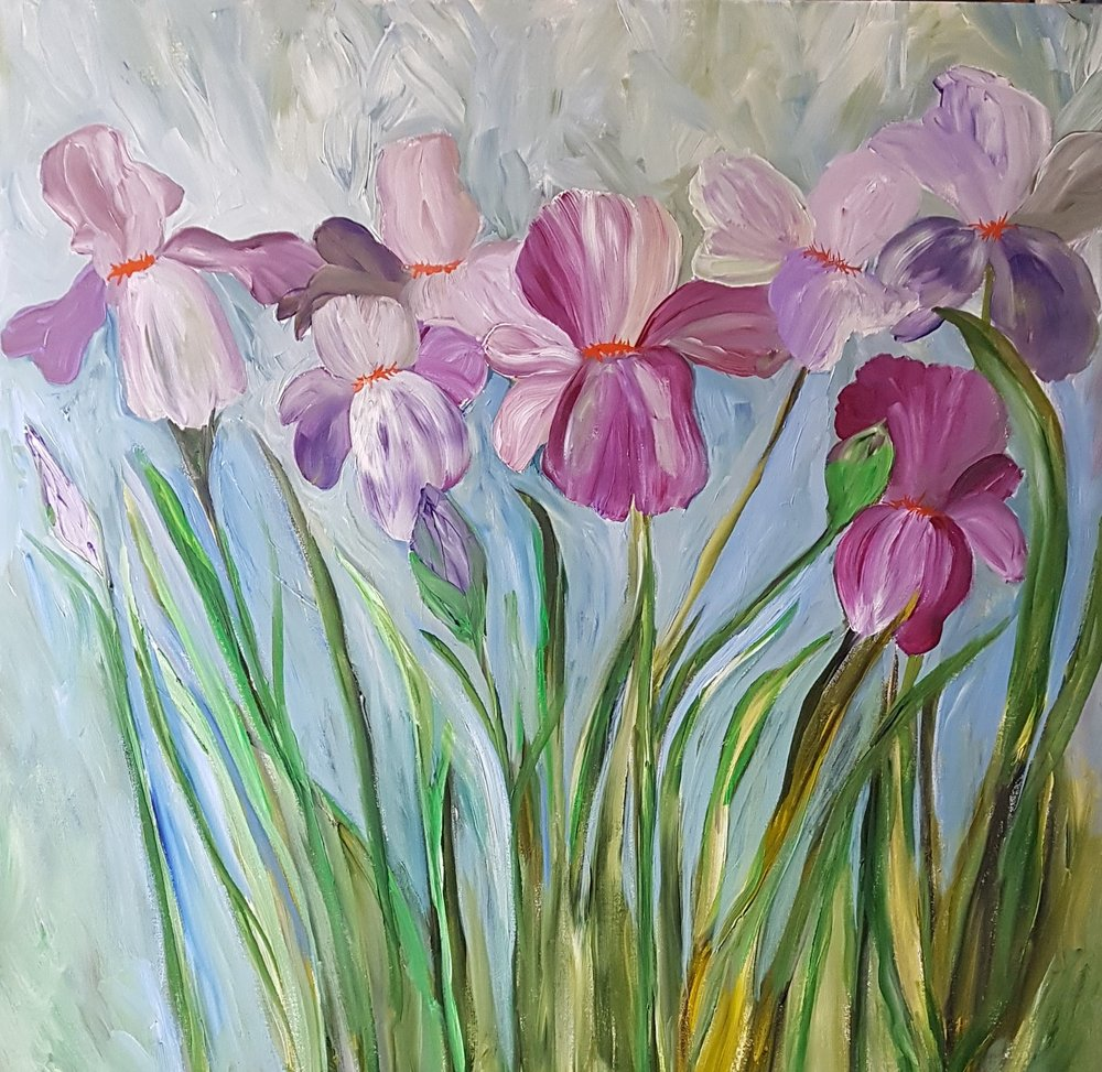 Irises 36x36 WIP  close up    Hurry Up Spring .jpg