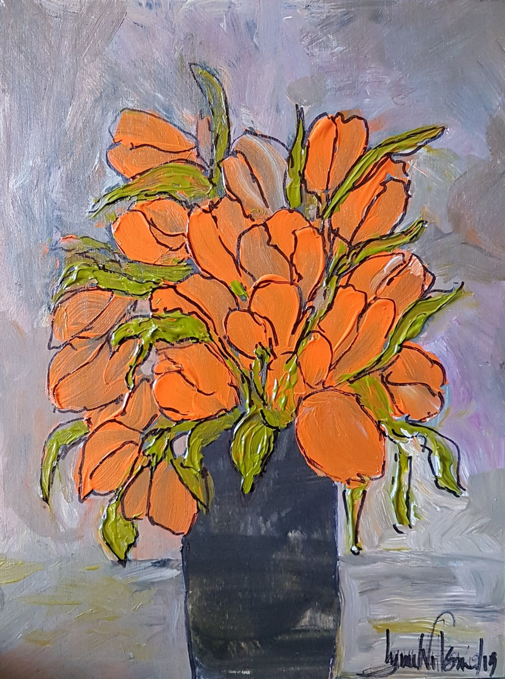 Flowers Series #16 Orange Tulips in Black narrow vase Wood Cradle Panel 9 x 12 March 2019 .jpg