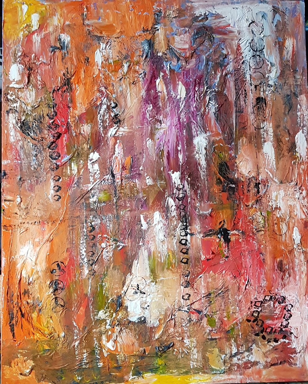 Abstract 24 x 30 Pink Black Yellow White Purple  Orange  Green    March 11 2019    Molding paste and tissue heavy texture .jpg