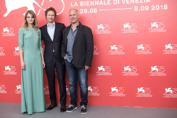 """Vlad Ivanov, Juli Jakab, and director Laszlo Nemes at a photocall for """"Sunset"""" at the Venice Film Festival"""