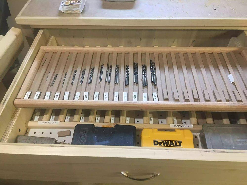 Drawer Drill bit storage