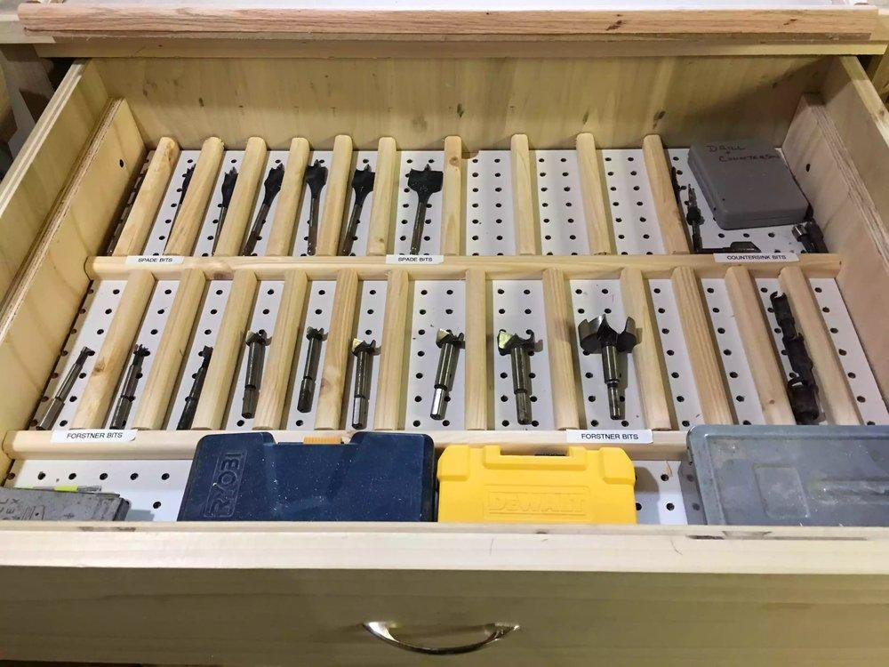 Spade & Forstner bit storage