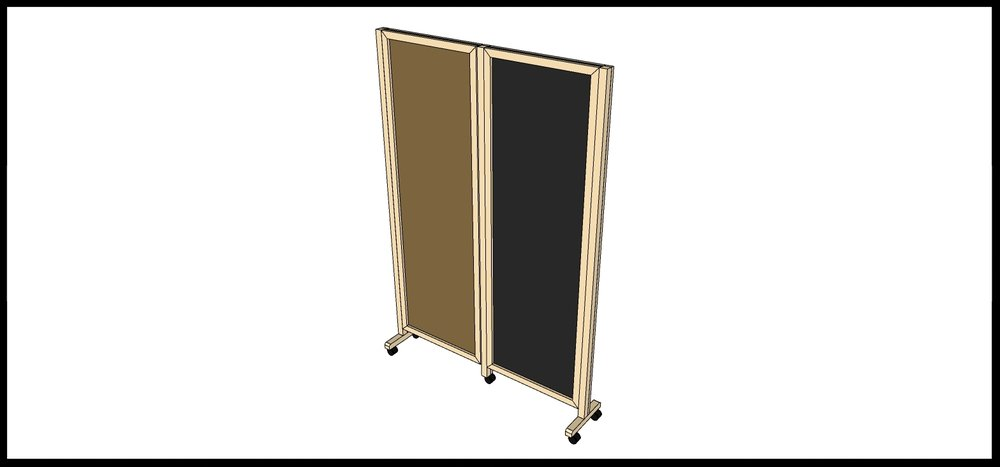 Room Divider: Back Side (left side will have corkboard and the right will have a chalkboard.