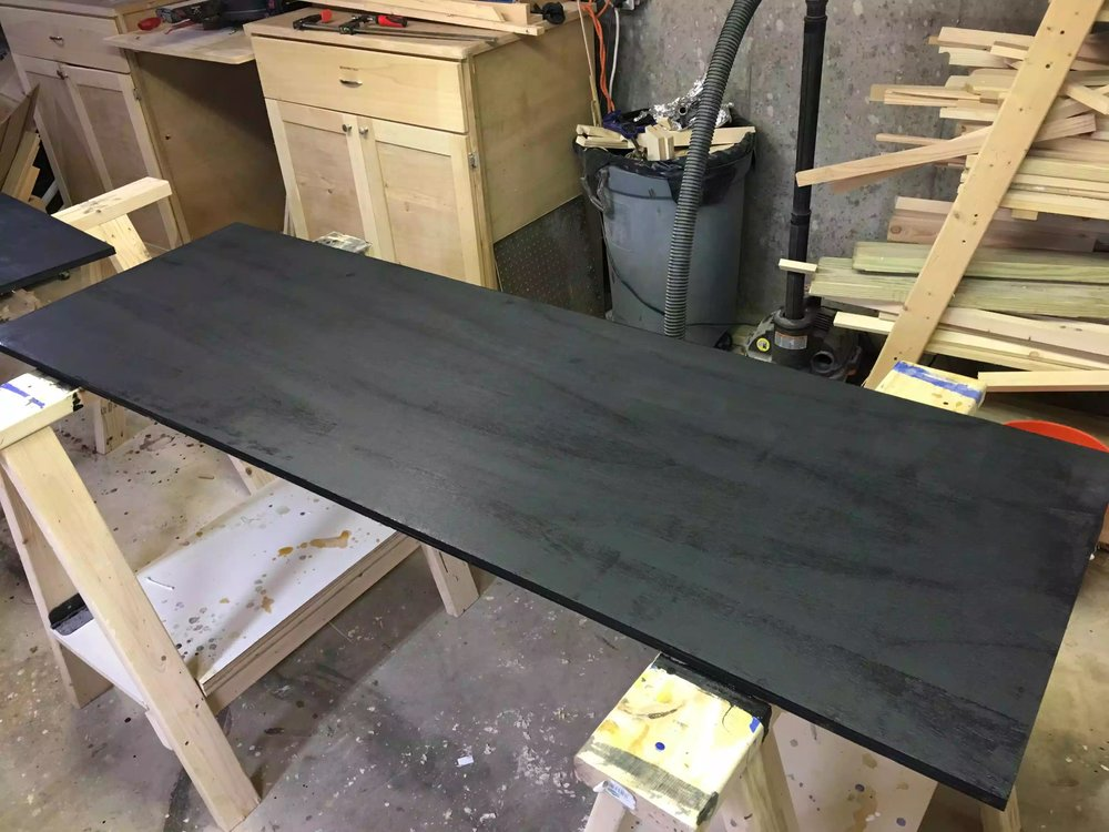 I don't usually use black paint on any of my projects , but I really like how the grain of the plywood came through the paint, I am curious to see if its there tomorrow.