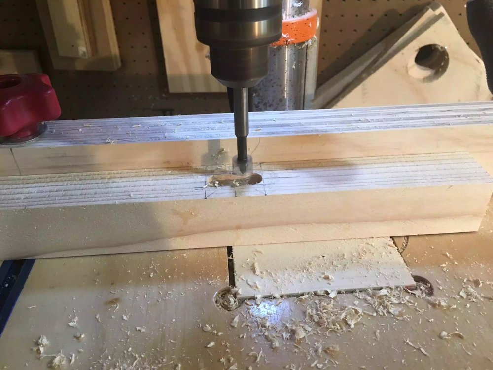 Using my drill press to cut the mortise, I used my fence on the drill press to center the mortise.