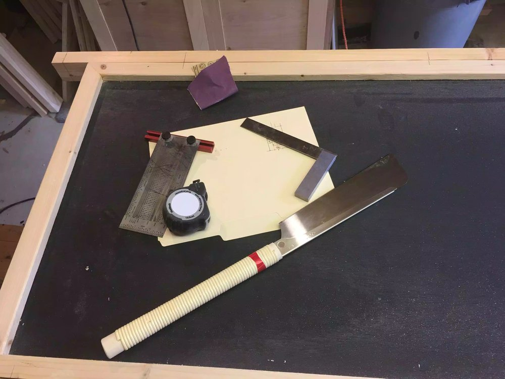 Here are the tools i used to complete most of the tenon, I used my Incra measuring tool, machinest square, Japanese saw to define the tenon shoulders