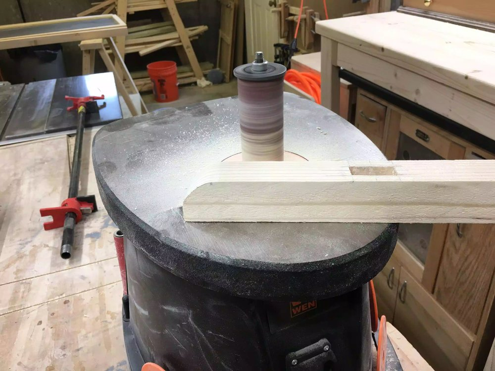 Here is the side profile of the round-over, I am using my oscillating spindle sander to smooth the blade marks left from the band saw., really love this tool and I use it alot more than I thought I would. You could also use some sand paper.