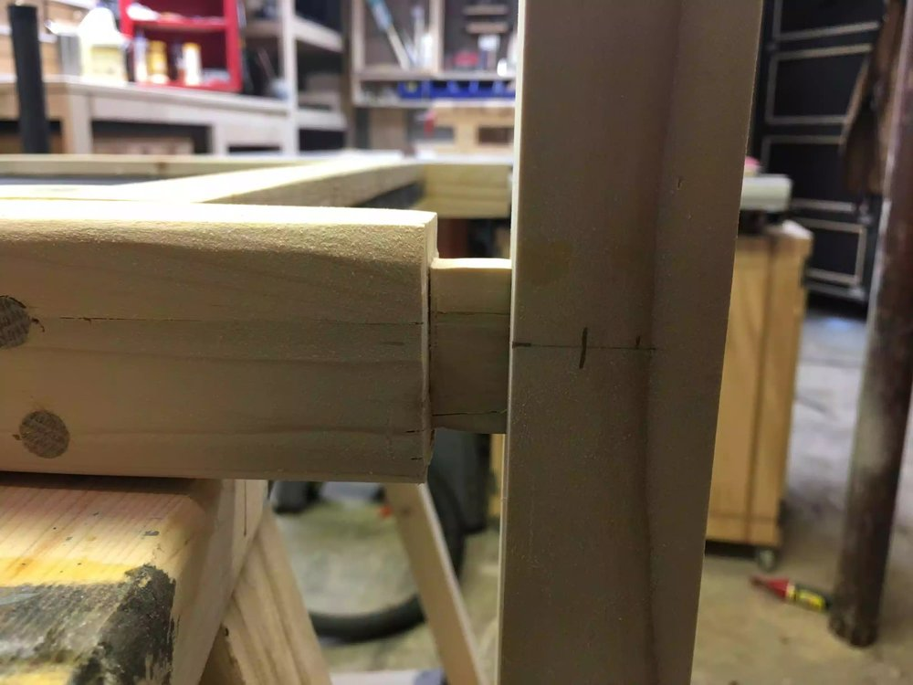 Here you see the tenon and foot, I marked very carefully because if I screwed this up the project would be very diffuclt to undo.