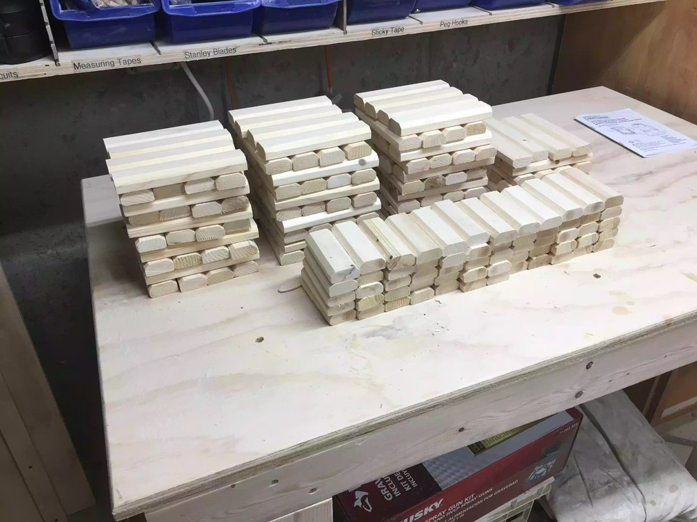 Finally after all that hand sanding , here are the 200 pieces that will make up the pattern on the front of the dividers.