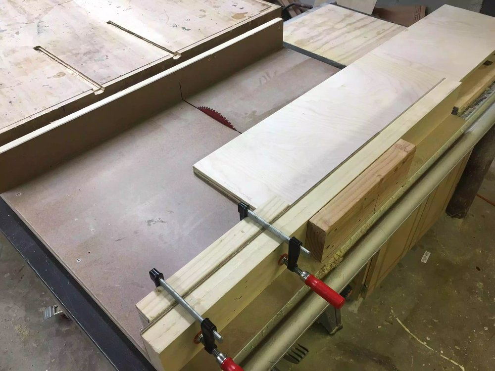 Here is my table-saw cross-cut sled with a stop block set-up on the fence.