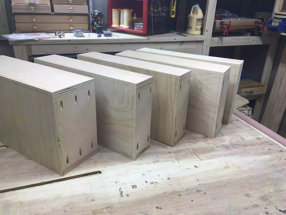 Here are all 5 drawers with bases attached one more step before there almost complete.