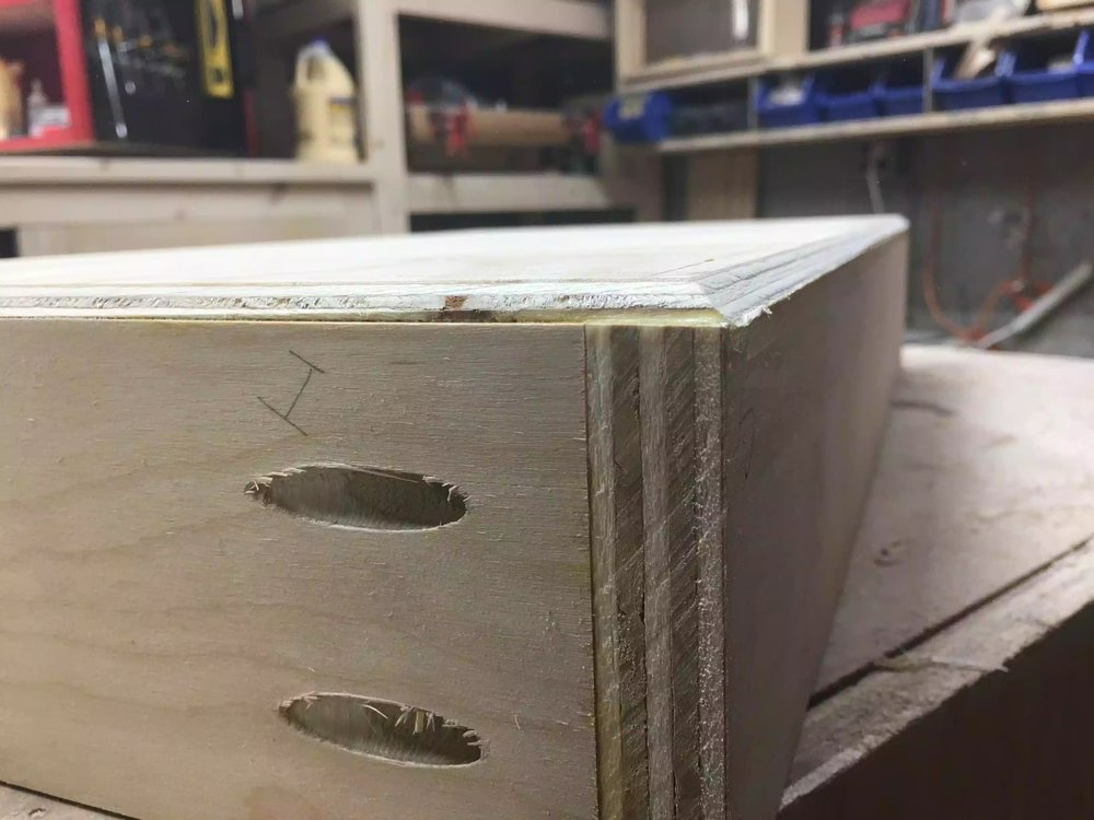 Here is a close-up of the drawer base after I added the chamfer.
