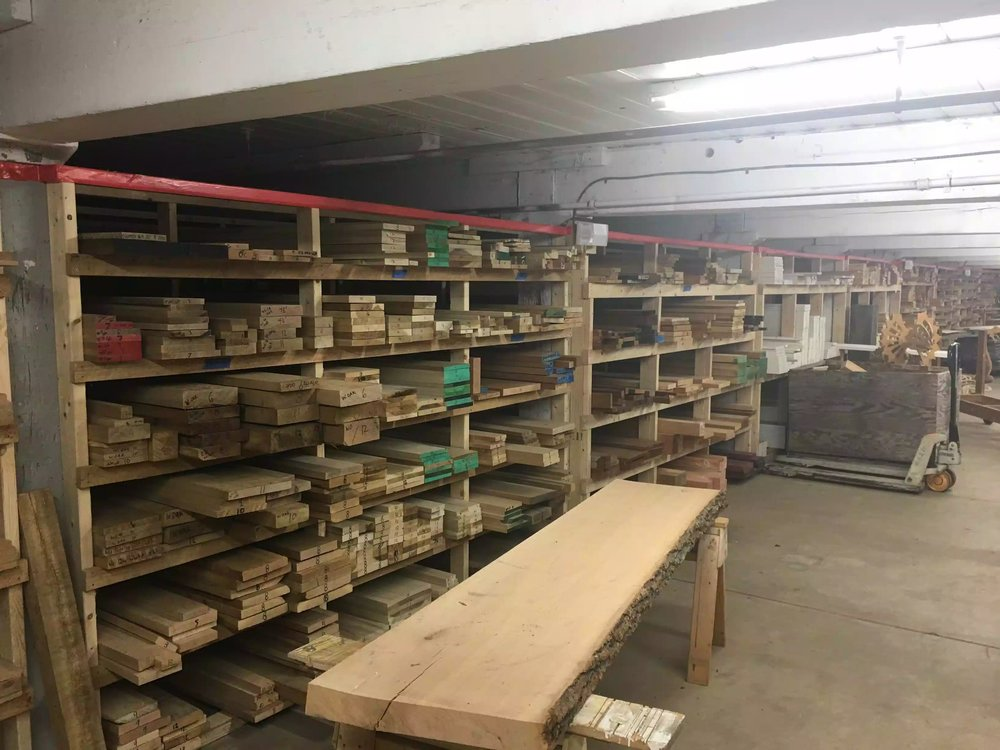 This is one side of the shop and they have all the popular species including maple, purple heart, white oak, red oak, walnut, cedar, poplar among a lot other species