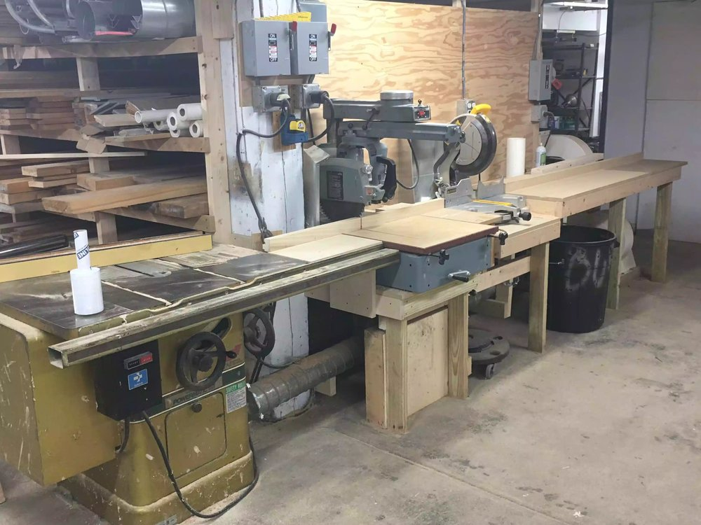 A decent chop saw station, upstairs in the facility is the workshop and I am assuming the milling facility as well.