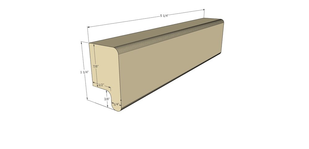 Here is the model I made on Sketchup and all the key dimensions for the pull