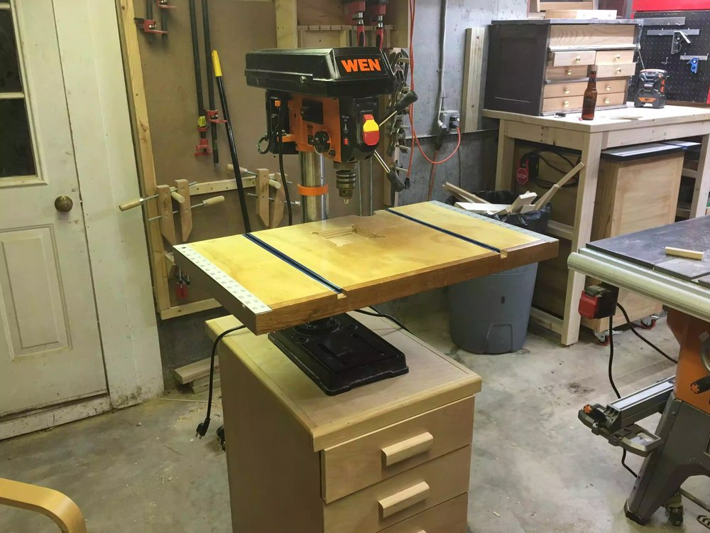 Here is my drill press in its new home, I also made a the drill press table in a previous project.
