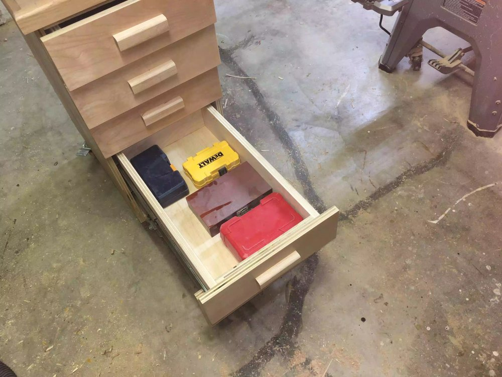 I need to finalise where everything will be stored, but since I have 5 drawers I can put each type of drill bit in its own drawer.