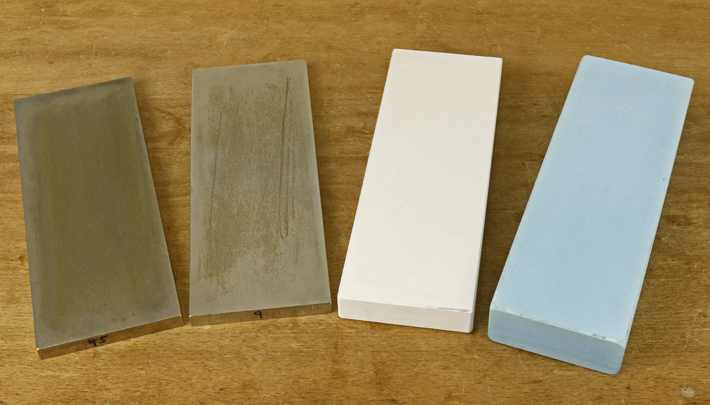 Sharpening stones. Diamond stone on the left and water or whetstones on the right