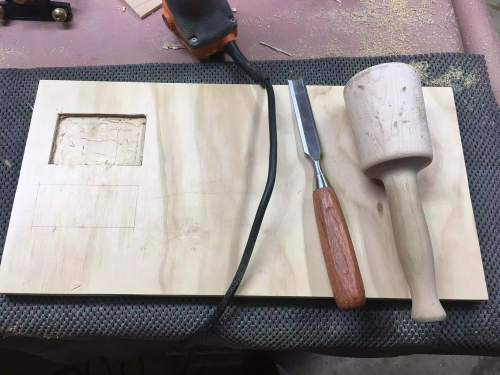 I used my palm router to remove the bulk of the recess and then went back with my chisel and mallet to clean up the edges.