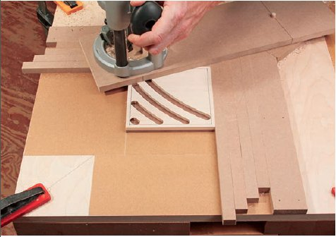 Adding spacer strips to maintain equal gaps between the grooves. (stock photo)