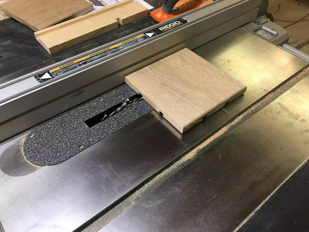 "Here you can see the trivet positioned to cut the 1/2"" wide 3/8"" deep groove, once one side is rotate the trivet 180° to catch the other side."