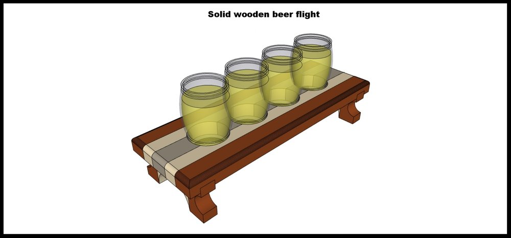 As you can see from the picture the feet will be housed in a groove beneath the flight itself which will provide a lot of stability for all the beer it will hold. This picture also demonstrates how the glasses will be held.