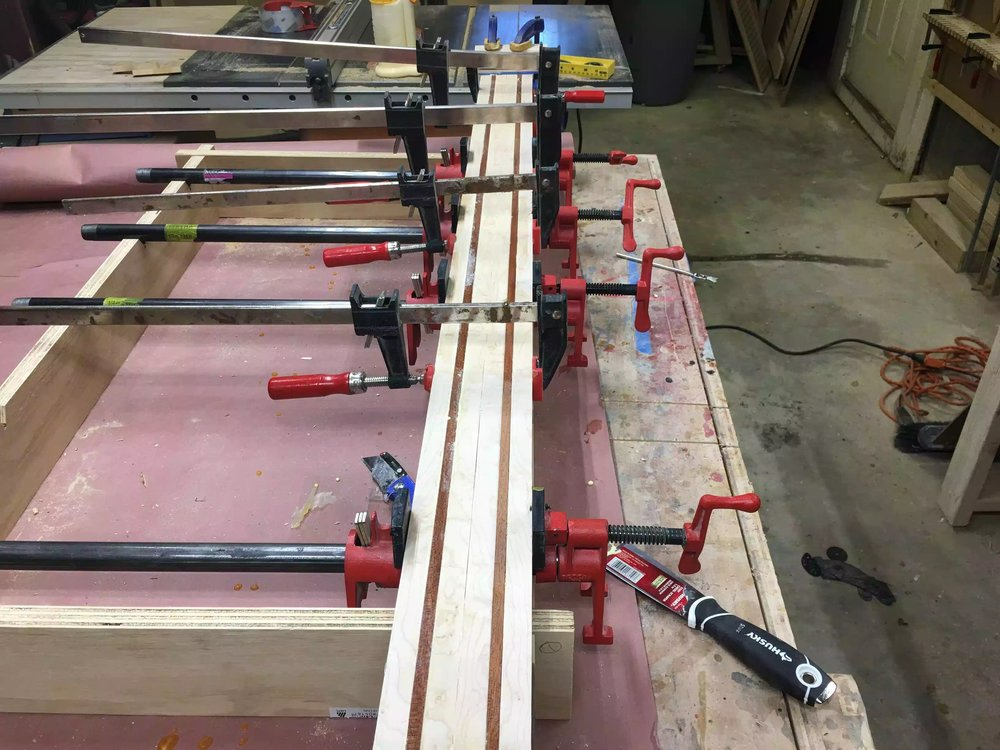 Here you can see the different design in the clamping jig. Most of the blank is maple with 2 contrasting Sapele pieces on each side.