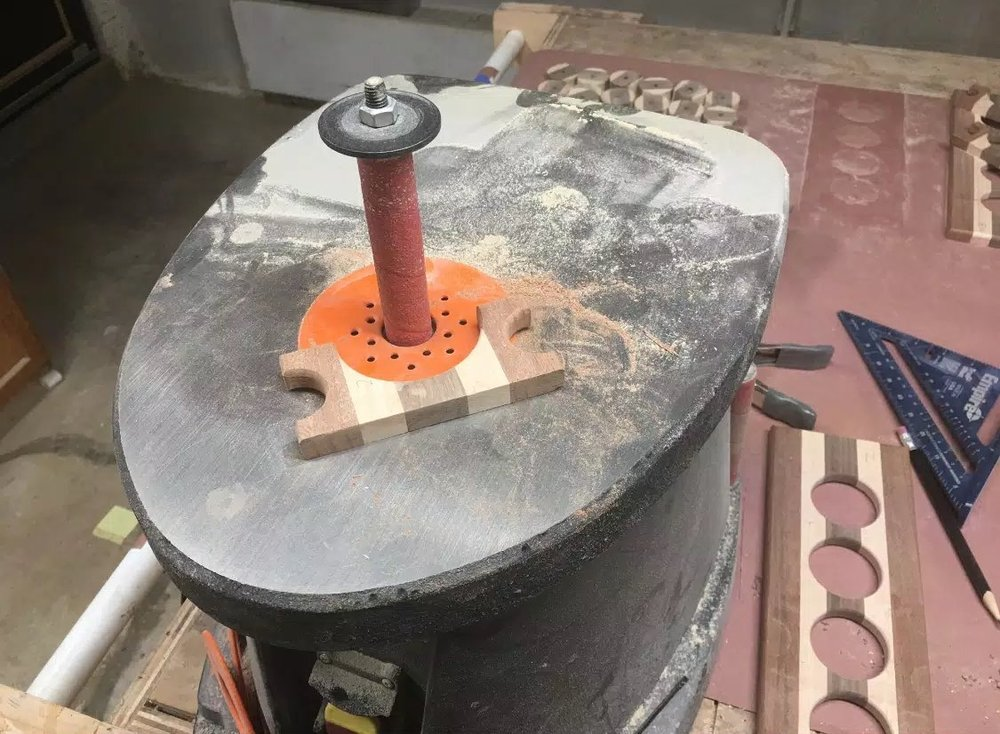 "Here is my WEN Oscillating Spindle Sander, this tool is a real joy to use, I used my 1"" diameter sanding sleeve to get into all the curves, I could have used a 2"" sanding sleeve but didn't want to replaced all the sleeves as that would have been time consuming, anyway the narrower diameter fit very well into all the curves I had."