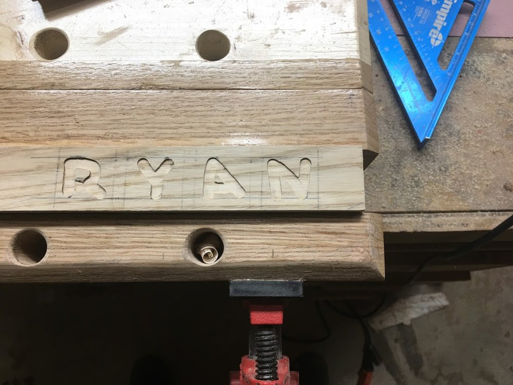 Finally his name got carved, I will also adding black paint to the letters to make sure they stand out.