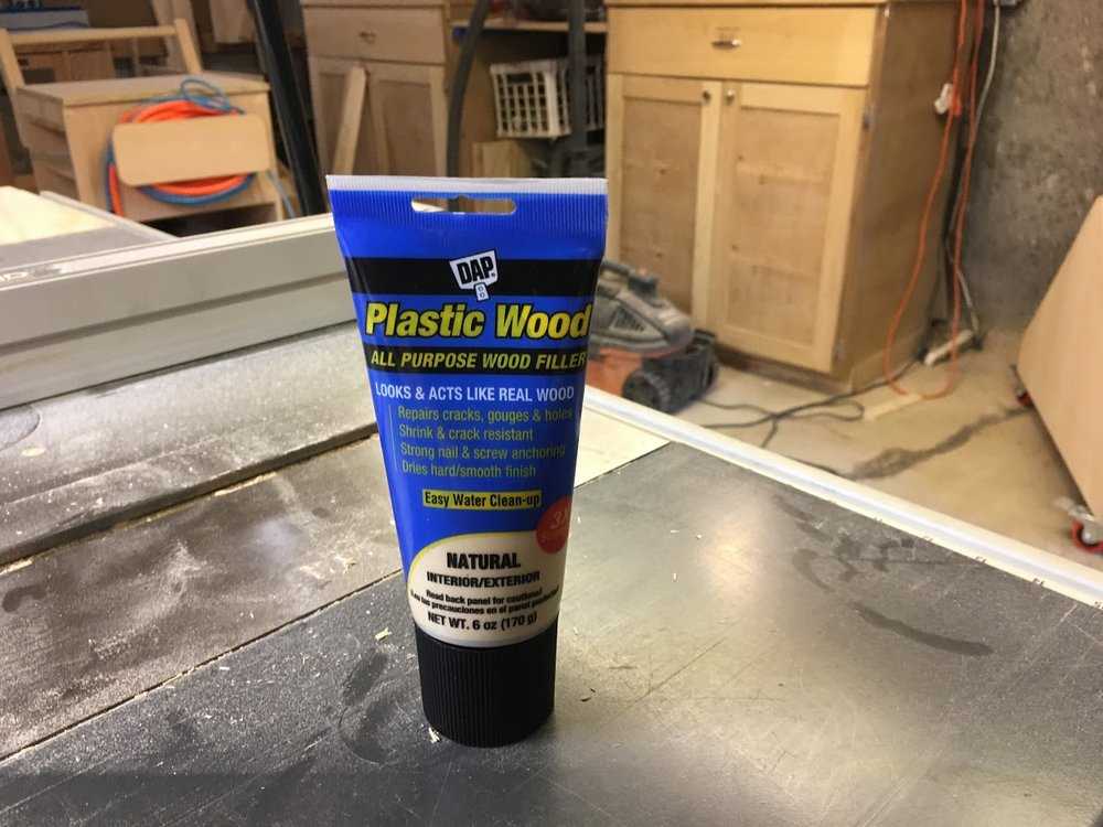 I used this filler because its natural color matched the color of the sanded plywood.