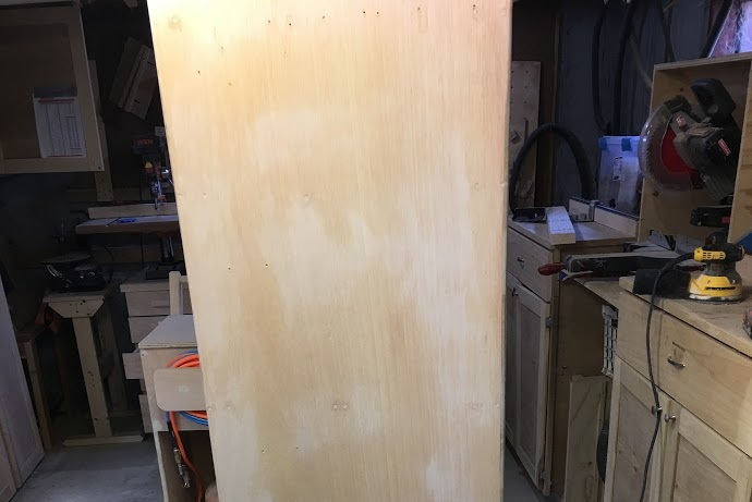 Here is the plywood after being filled, doesn't look too bad at all, but no mind this will be painted later. The plywood looks dusty but I have not wiped it down yet.
