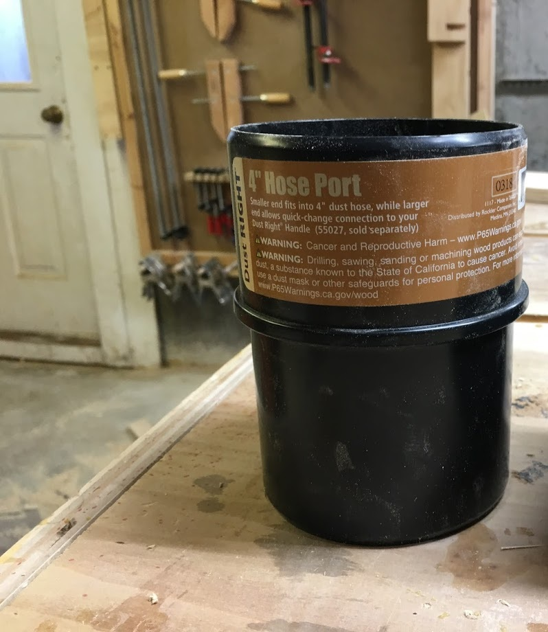 Here is an image of the port, this is the port that I needed to attach to the Flex-form hose and is what I attach the dust collector hose that runs from the Dust Right Collector, it completes the dust collection loop from the table-saw to the dust collector