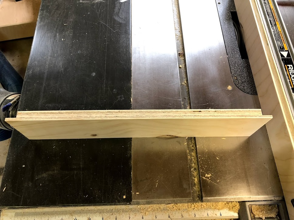 "My first step was cut 2 rabbet's on each side of the front and back drawer piece, its a 1/2"" deep and 23/32"" wide, I installed a sacrificial fence to my table-saw fence and then also installed a dado stack in my saw to get the job done. I only placed rabbets on the front & back pieces of all the drawers, the sides do not receive the joint."