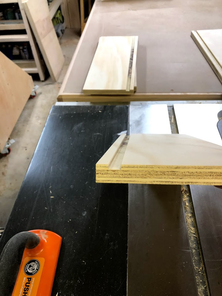 Here is a close look at the dado which is where the drawer base will be housed, this panel will float in here so no glue will be needed during the glue-up phase.