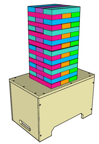 The storage box doubles as a platform to build the Jenga tower on.
