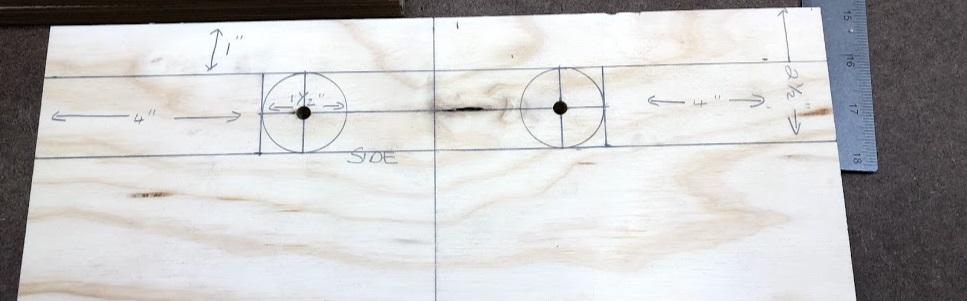 Here is the layout all completed, I also predrilled a pilot hole to trach the hole saw when I needed to cut out the circles.