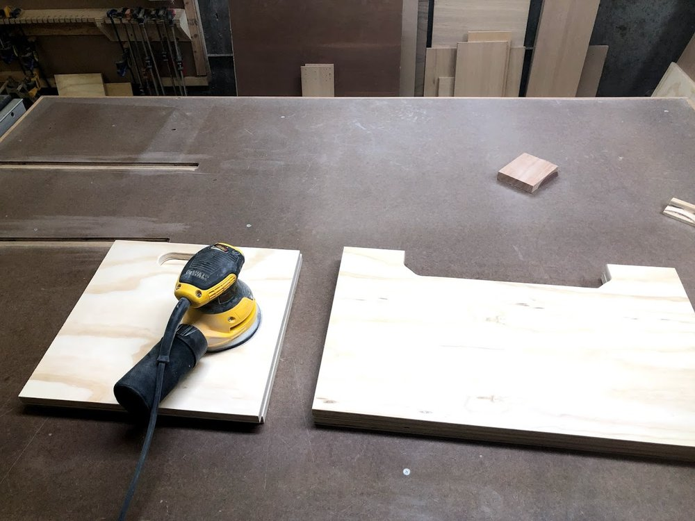 Using 150 grit paper in my orbital sander I sanded all 5 parts to the box, I did this to remove all the layout marks made and smooth the panel before I glued it up. I will give the outside faces another sanding after the box is assembled.