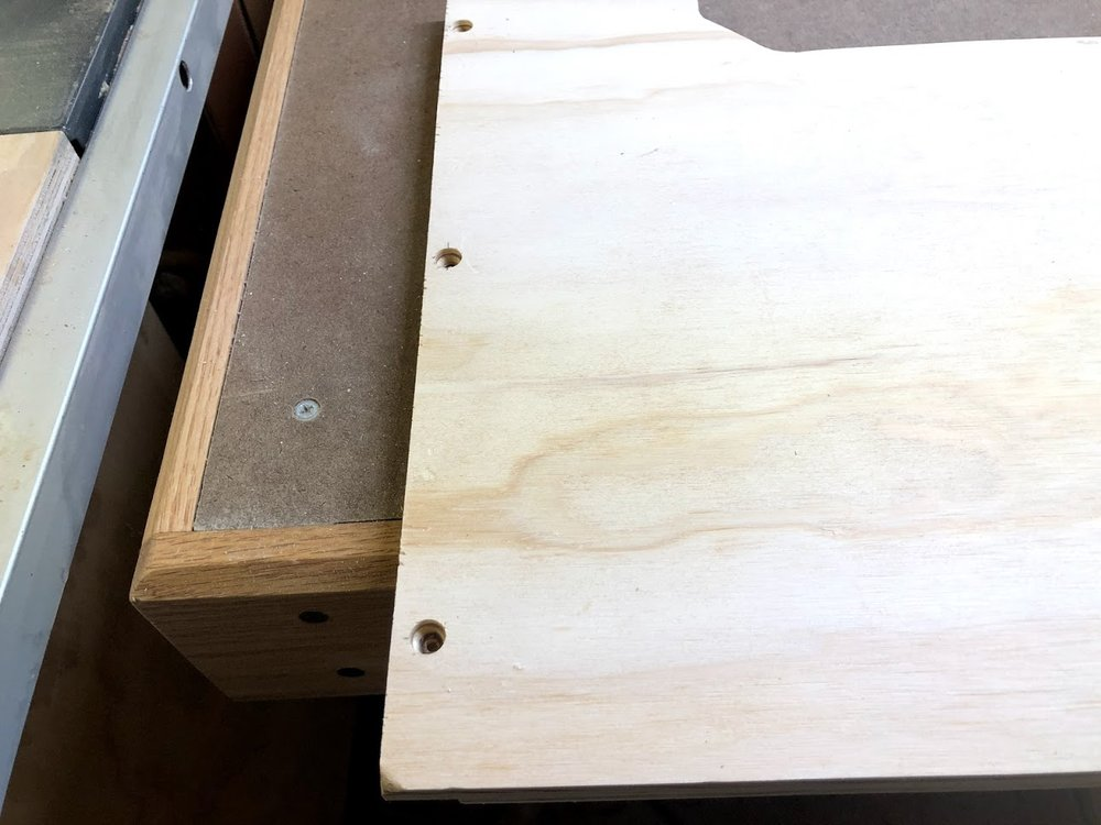 Here is a close-up of the counter-sunk holes, I will be covering these with some dowels later on.