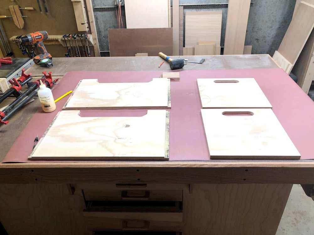 Here is everything I need for the glue-up and my new assembly table is protected.