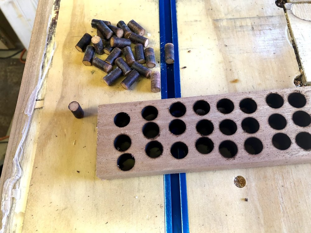 """All finished cutting the plugs out, no such thing as scrap wood in my shop a 6"""" piece of wood yielded like 30 plugs."""