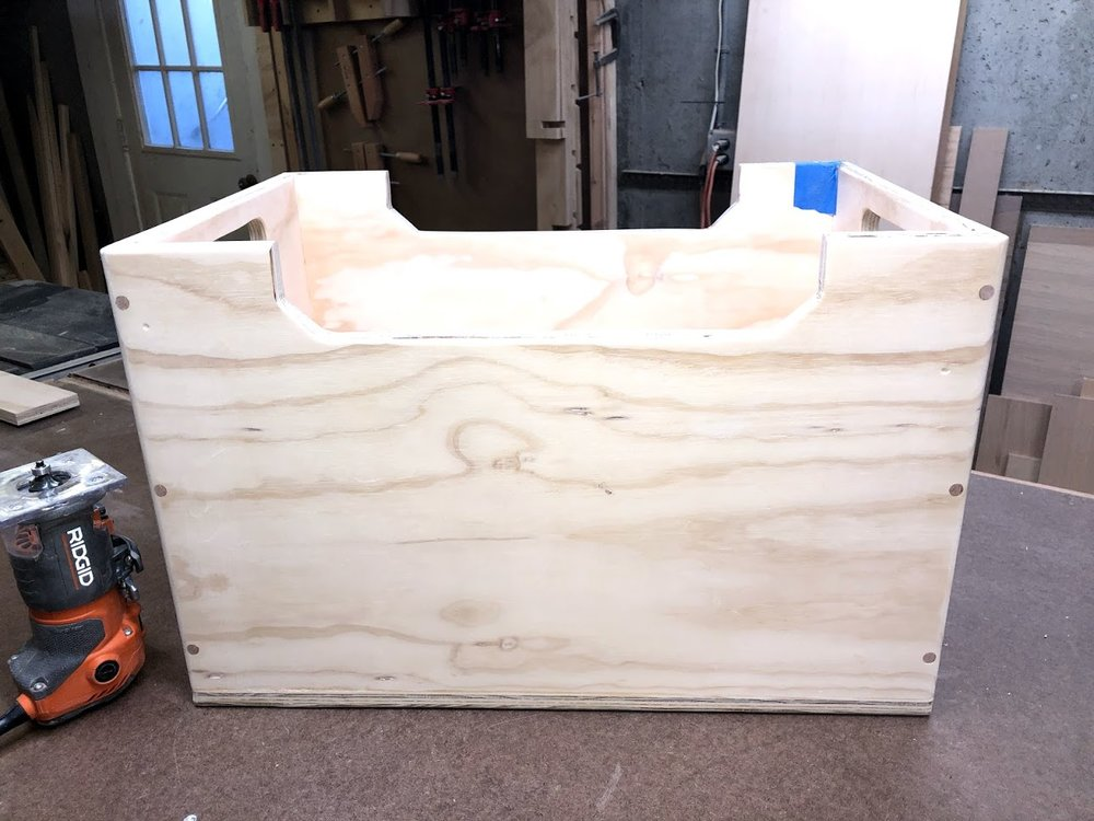 Here is the box with the plugs all flushed up and sanded with 150 grit sand paper,I used my random orbital sander to do this.