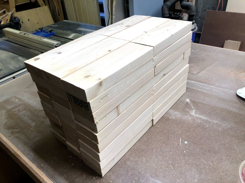 Here are all the jenga blocks cut to size, because I am using construction grade studs they will need a lot of work using various sanding tools to get them looking and feeling smooth.