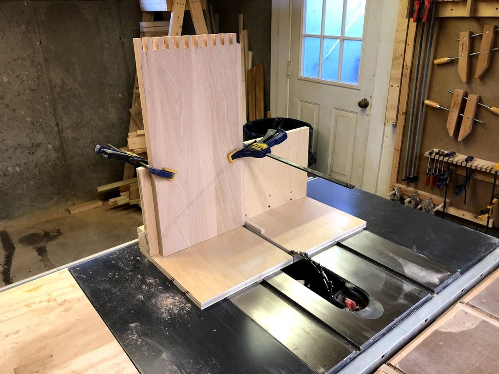 Clamp the board in place on the jig